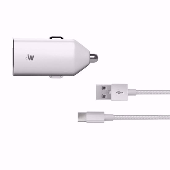 Picture of Just Wireless Just Wireless 2.4A Car Charger with USB Type-C Braided Cable in Silver